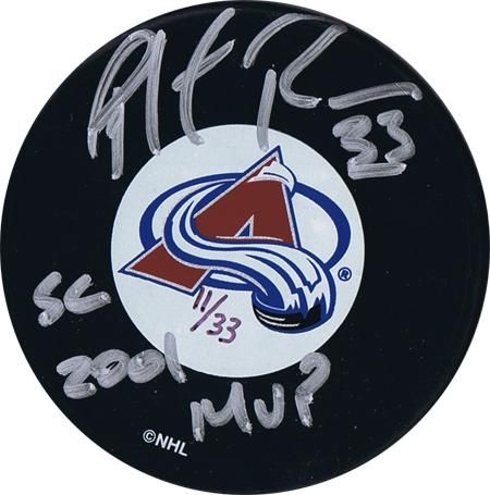 t1338556 455 Patrick Roy Autographed Hockey Puck   SC 2001 MVP   LE Of 33 This is a great piece of sports memorabilia. A Patrick Roy signed Hockey puck. The inscriptions increase the value.