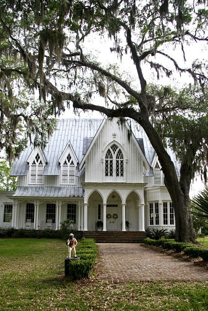 The Asymmetrical Composition Picturesque Roof Line And Tall Proportions Of House Are Frequent Features Gothic Revival Style