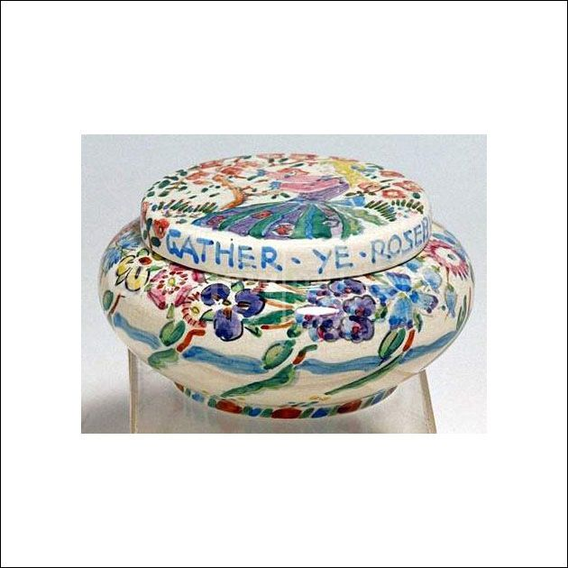 Ceramic bowl and cover painted with 'Gather ye Rosebuds' made by Jessie Marion King about 1900–25 </br> Reproduced by permission of Dumfries and Galloway Council and the National Trust for Scotland, as copyright holders