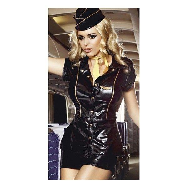 Disfraz de auxiliar de vuelo de formado por un vestido abotonado con botones dorados, una mini falda, el pañuelo para el cuello de color amarillo, el casquete y el pin con las alas, todo en color negro de efecto mojado  http://bolaschinasymas.com/disfraces/1282-baci-disfraz-de-auxiliar-de-vuelo-4890808122198.html