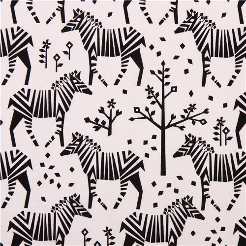 white Midnight Train Origami zebra fabric Michael Miller USA