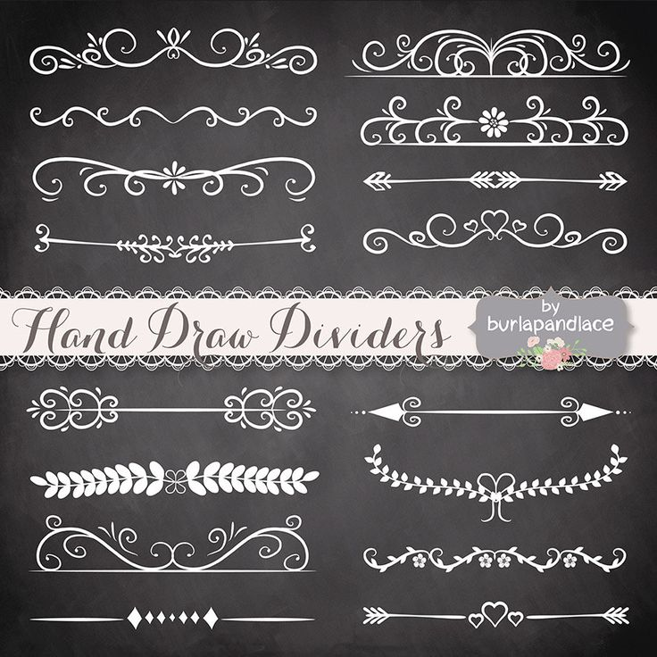 VECTOR Hand Drawn flourishes dividers clipart, Digital ornament clipart…