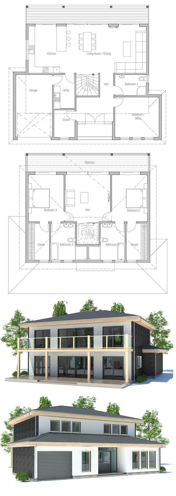 Modern house plan with full wall height