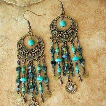 Idin Handmade Earrings - Turquoise spiral hoop earrings (Approx. 6.5 cm) HJYbaaHaV