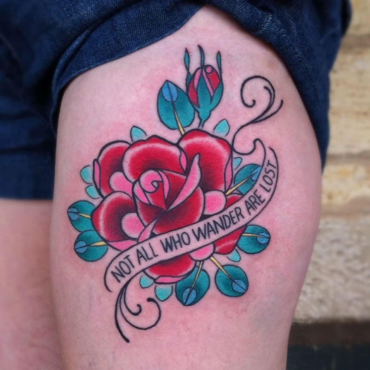 By Simone Hede, Progression Tattoos Adelaide.      This is a super bright and clean ooking piece. I like the style of the no-banner banner, the color saturation, and the unique leaf style.