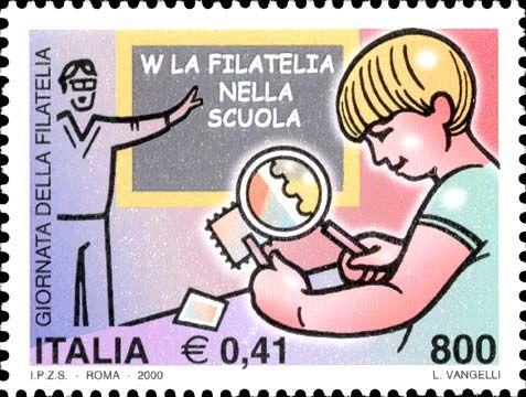 2000 - 15ª giornata della filatelia - Alunno che osserva un francobollo e insegnante