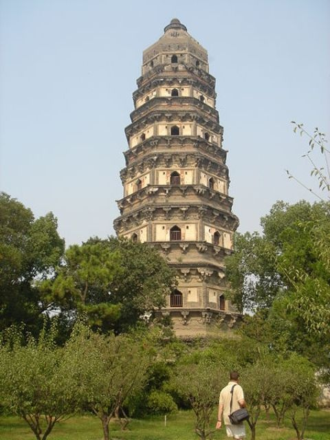 The Huqiu Tower, or Yunyan Pagoda and Tiger Hill Pagoda, is a Chinese pagoda situated at Changmen in Suzhou City, Jiangsu Province. It is also called the 'Leaning Tower of China'. The tower was built in the later period of the Five Dynasties (907-960 CE), completed by the second year of the Song Dynasty. The tower rises to a height of 47 m (154 ft). It is a seven-story octagonal building built with blue bricks. In more than a thousand years the tower has gradually slanted due to forces of…