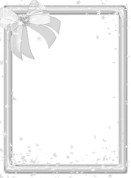 Silver Transparen PNG Photo Frame with Bow