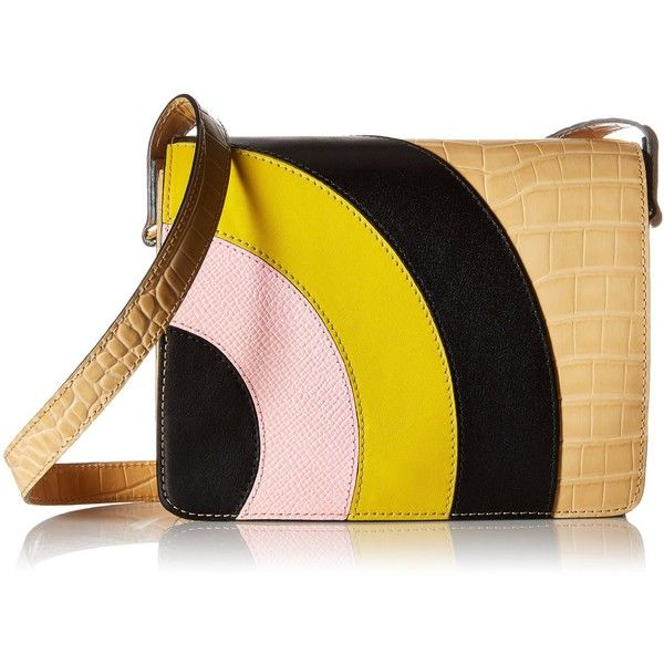 Orla Kiely Croc Applique Leather Bonnie Shoulder Bag ($129) ❤ liked on Polyvore featuring bags, handbags, shoulder bags, structured leather handbags, leather purses, hand bags, man bag and leather handbags