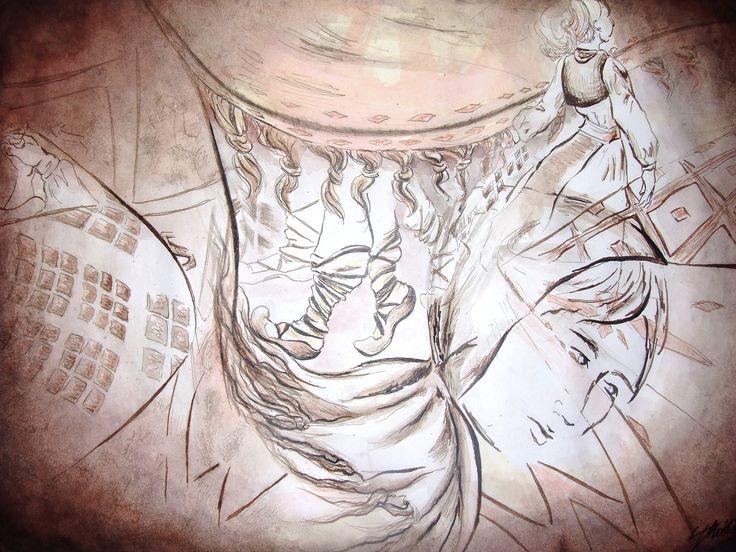 """""""Amintire Învârtită"""" - tușuri colorate pe hârtie / inks on paper"""