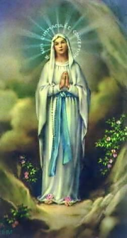 Unserer liebe Frau von Lourdes. Ave Maria Gegrüßet seist du Maria, voll der Gnade, der Herr ist mit dir. Du bist gebenedeit unter den Frauen, und gebenedeit ist die Frucht deines Leibes, Jesus. Heilige Maria, Mutter Gottes, bitte für uns Sünder jetzt und in der Stunde des Todes. Amen