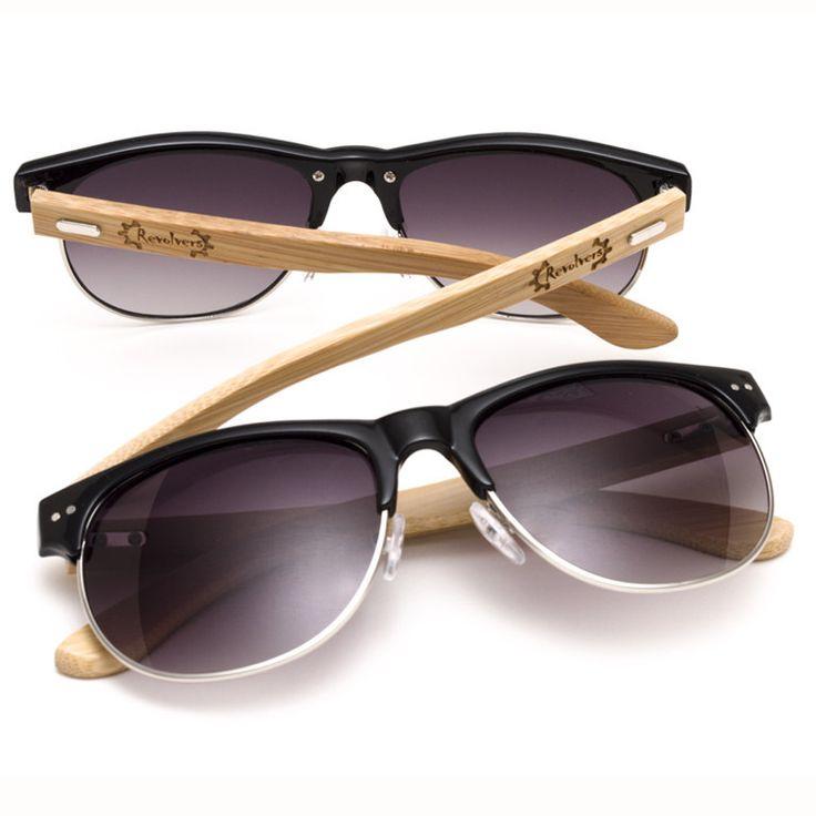 """Ξύλινα Γυαλιά Ηλίου Bamboo """"REVOLVERS"""" Clubmasters"""