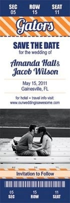 Gator ticket invite <3 <3 <3 why did I not do this for my wedding?!?!