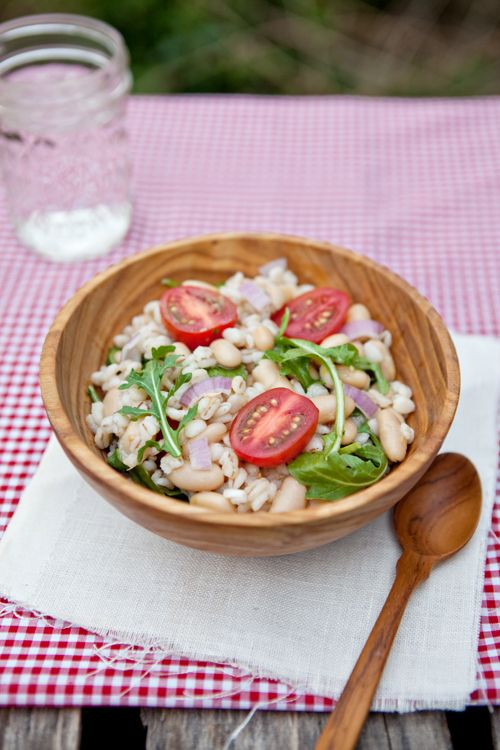 Bean and Barley Arugula Salad from @Shaina Olmanson   Food for My Family: Beans Barley Arugula Salad, Können Die, Die Domain, Food, Shaina Olmanson, Families, Cannellini Beans, Mr. Beans, Barley Recipes