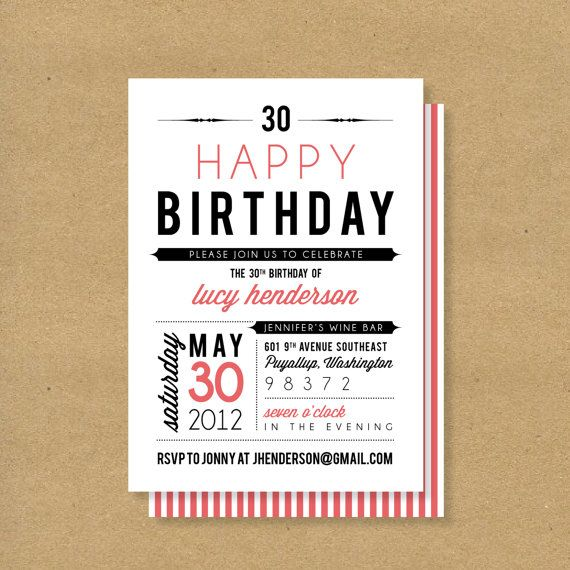 Adult or Child Birthday Invitation // Fonts by HENANDCO on Etsy, $16.00