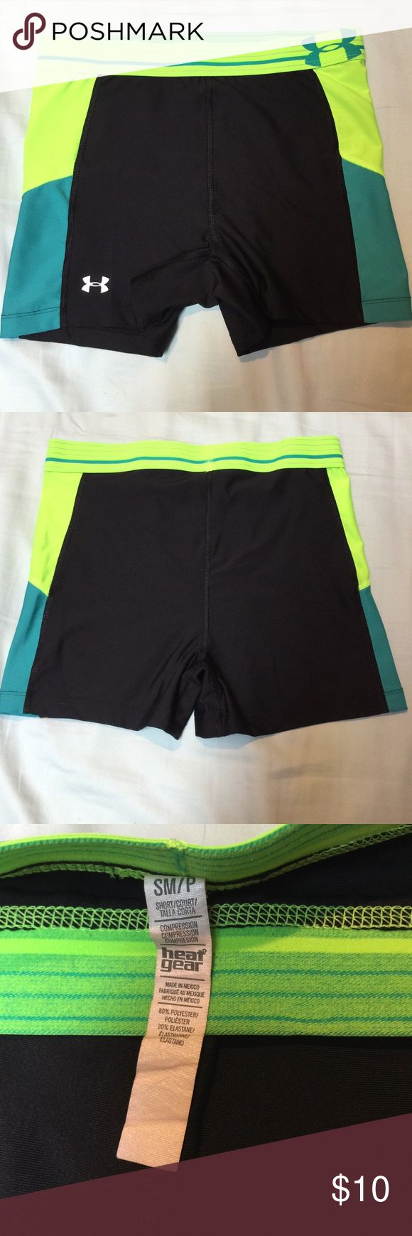 UA compression shorts size small 80% poly and 20% elastane shorts in black neon green and teal blue. Worn but still in good condition Under Armour Shorts