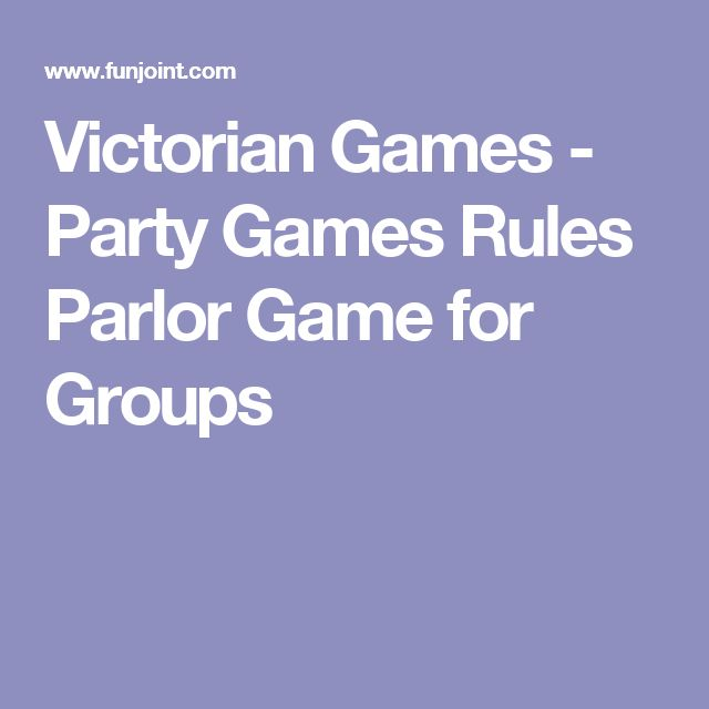 Victorian Games - Party Games Rules Parlor Game for Groups
