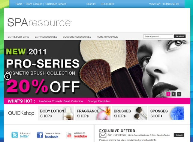 Spa Resource website designed by Fusion Studios Inc.