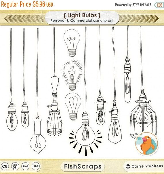50% SALE LightBulb Clip Art Wedding String Light by FishScraps