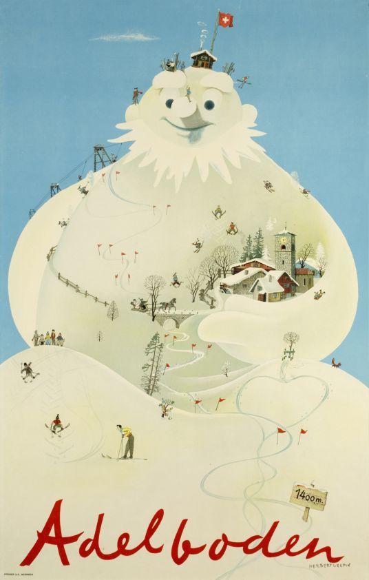 Advertisement for Adelboden, Bernese Oberland in the Swiss Alps.  Herbert Leupin, artist; 1945