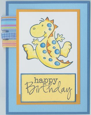 Stamp-it Australia: 3753E Dinosaur Leap, 3852D Happy Birthday - Card by Susan