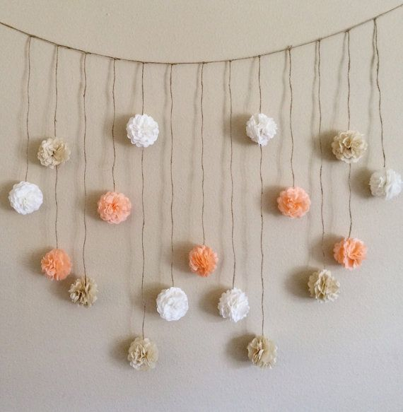 A paper flower garland made of peach and shades of cream delicate paper flowers. A pretty and whimsical decoration for your wedding, bridal shower,