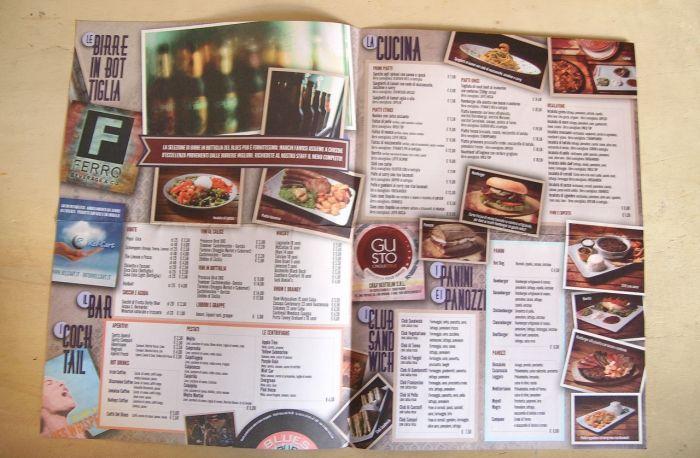Blues Pub menu - inside