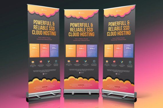 Roll Up Banner Stand - Custom Print Vinyl Pull Pop Sign Display - Retractable Printing Rollup - Port