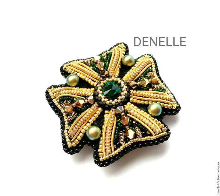 Купить Брошь орден вышивка бисер мальтийский крест изумрудный EMERALD - брошь мальтийский крест