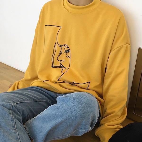 aesthetic soft grunge clothes smoke girl sweatshirt boogzel apparel #Yellow