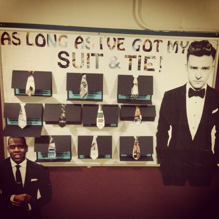 March bulletin board: I be on my suit and tie. #hova #JT # ...