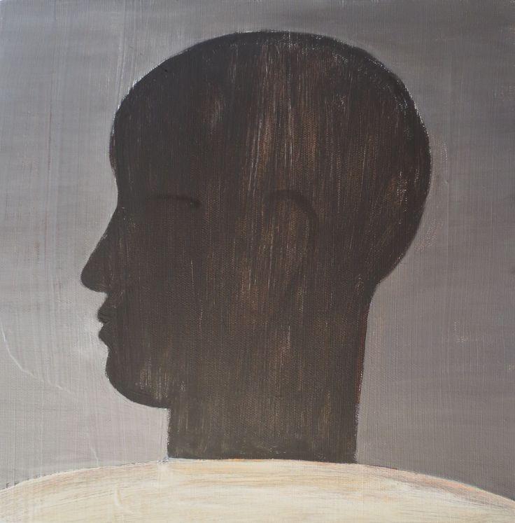 John Eaden - Head in profile, acrylic on canvas, 300mm x 300mm