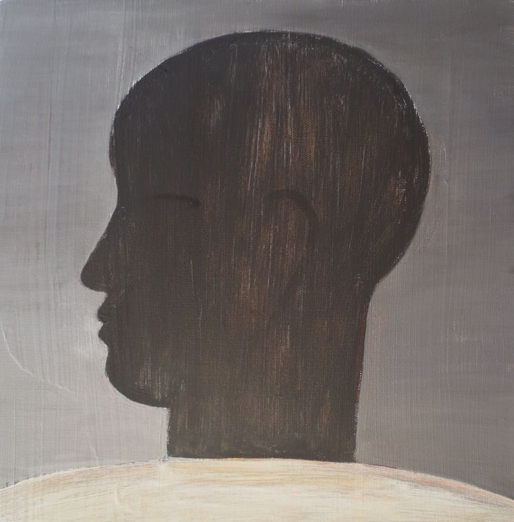 John Eaden - Head in profile, acrylic on canvas, 300mm x 300mm
