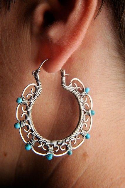 Leela Hoop Earrings in Sterling Silver with by mosaicdesign