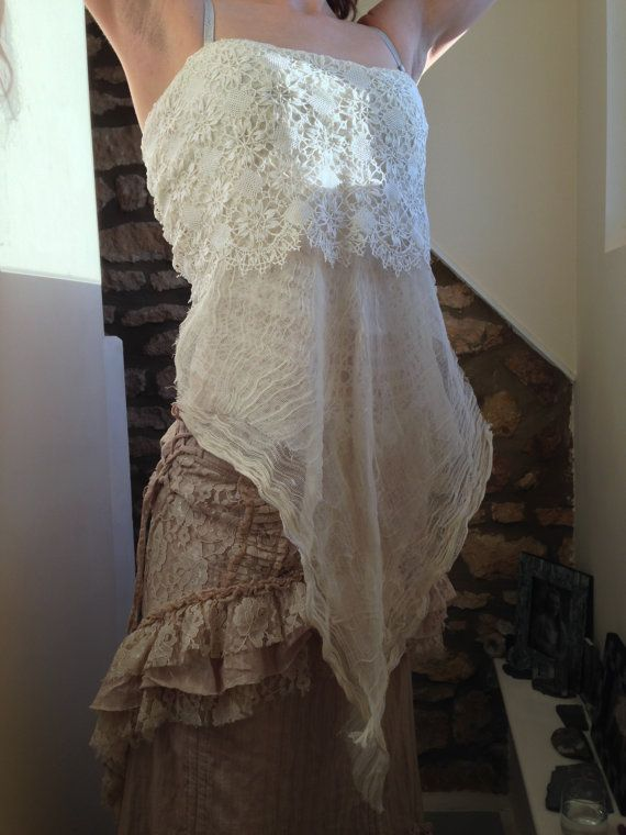 Pixie Fairy Gypsy Romantic Lace corset back Top by PixiePurdy, £55.00