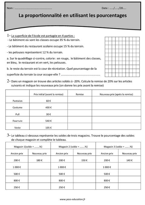 Utiliser les pourcentages - Proportionnalité - Cm2 - Exercices à imprimer - Pass Education