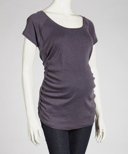 Denim Heather Maternity Short-Sleeve Top - Women by Mom & Co. #zulily #zulilyfinds