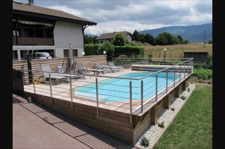 Terrasse et piscine terrain en pente ext rieur pinterest piscines hors sol piscines et for Amenagement exterieur maison terrain en pente