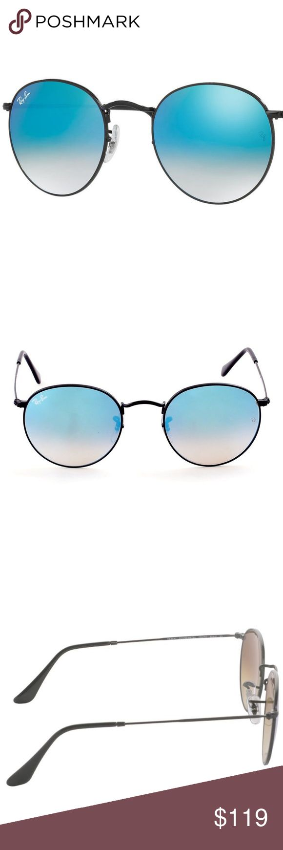Ray-Ban 'Icons' 50mm Round Sunglasses - Black/Blue Ray-Ban 'Icons' 50mm Round Sunglasses - Black/Blue RB3447  Round, iridescent lenses and a lightweight tubular frame define retro-chic sunglasses in a classic, '60s-inspired silhouette. 50mm lens width; 21mm bridge width; 145mm temple length. 100% UV protection. Metal. By Ray-Ban; made in Italy. Ray-Ban Accessories Sunglasses