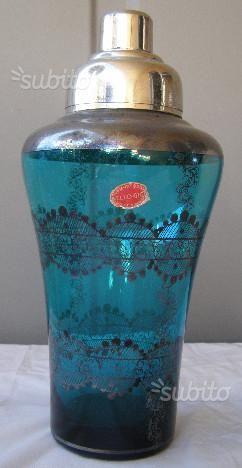 Shaker in vetro  di Murano con decorazioni a foglia d'argento, laboratorio  Nello Gigli