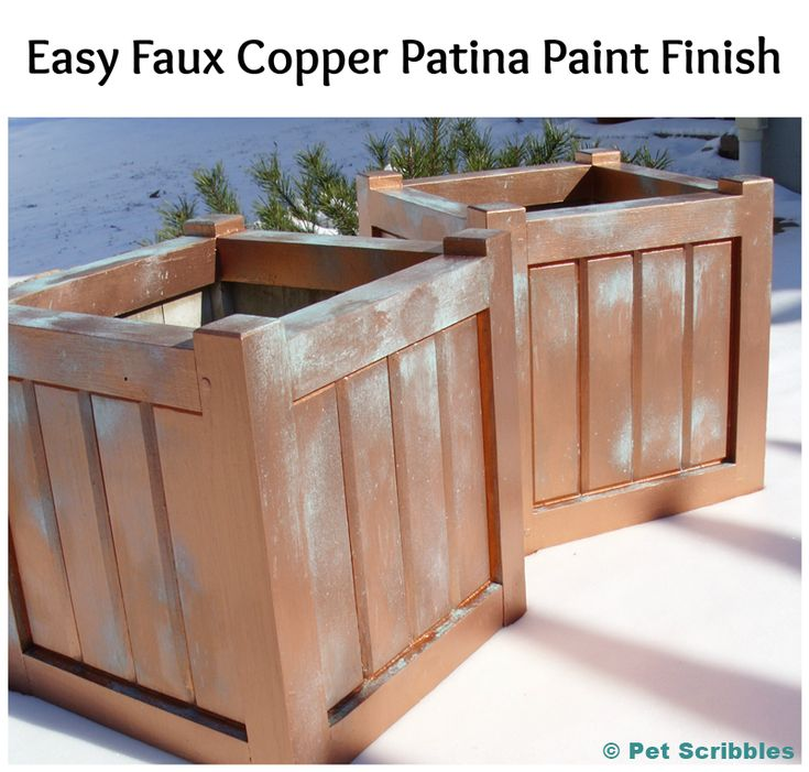 Easy Faux Copper Patina Paint Finish on Wooden Planter Boxes
