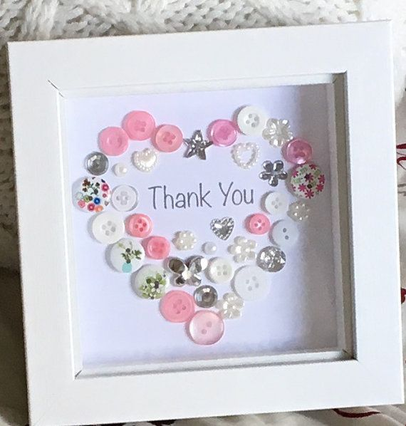 Thank you Button Picture Framed - Teacher Gift - Thanks / Colleague / Babysitter / Childminder / Teaching Assistant / End of Term Gift