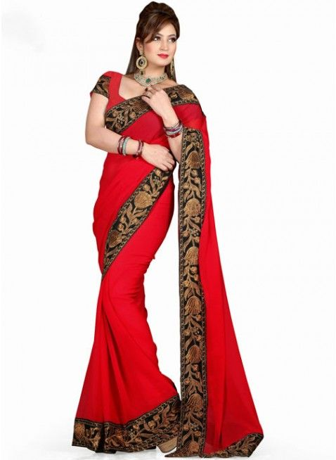 Melodic Red Chiffon Based Embroidered #Saree