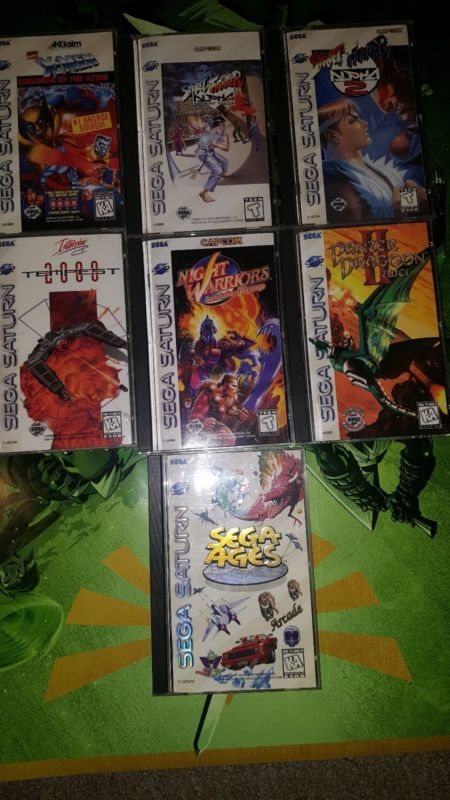 Sega Saturn Lot  #retrogaming #HotSS  9 games: Sega Ages Night warriors Street fighter alpha Street fighter alpha 2 Tempest 2000 Panzer dragoon zwei and X-men children of the atom. BIN auction offers accepted.