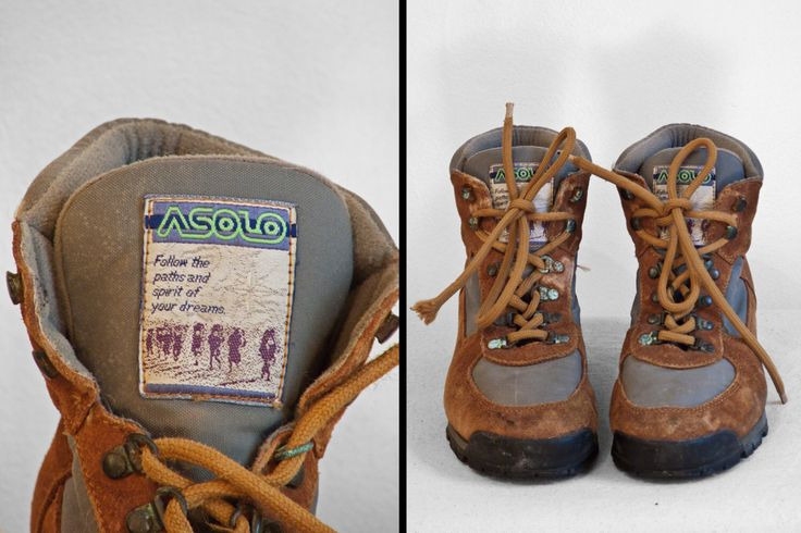 ASOLO Hiking Boots 1980s Womens Size 8 Chestnut Brown and Gray Vibram Soles by JeezumCrowVintage on Etsy https://www.etsy.com/listing/228290238/asolo-hiking-boots-1980s-womens-size-8