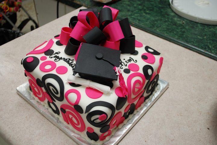 Graduation Cake | Special Occasion Cakes » graduation cakes, pink and black, Cake Guru ...