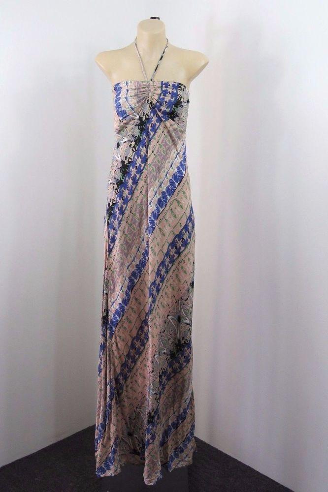 NWT Size M  12 ISHKA Ladies Halter Maxi Dress Casual Boho Chic Gypsy Hot Design #Ishka #Maxi #SummerBeach