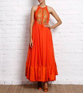 Orange Georgette Anarkali