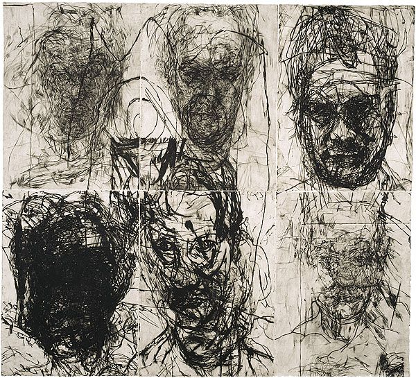 Mike Parr - do timed frontal portrait gestures in various media, reference Giacometti.....line