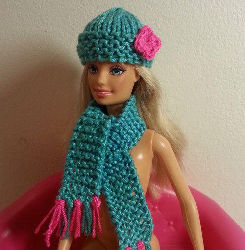 Čepice a šála (zelenorůžová sada) pro Barbie